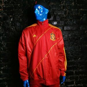 Spain Espana Team Jacket With Zipped Red Adidas W38136 Polyester Mens Size XL