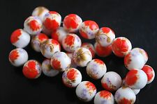 20pcs Red Flower Round Porcelain Beads Loose Spacer Jewelry Finding 10mm Charms