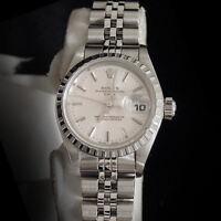 Rolex Date Ladies Stainless Steel Watch Quickset Jubilee Bracelet Silver Dial