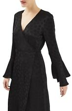 NEW Topshop Boutique Womens Size 8 Black Long Sleeve Jacquard Wrap Dress NWT