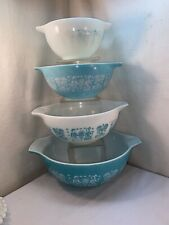 Vtg 4pc Pyrex Blue Turquoise Butter Print Amish Cinderella Nesting Mixing Bowls