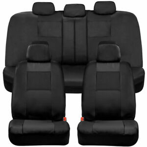 BDK PU Leather Full Set Car Seat Covers - Front & Rear Two-Tone in Black