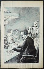 Dessin original de BARROIS d'ORGEVAL dit GUYDO (1868-1930) poker tripot