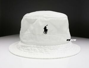 NWT POLO RALPH LAUREN PONY BEACHSIDE BUCKET HAT WHITE  S/M, L/XL