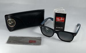 Ray Ban New Wayfarer Black/Teal/Purple Matte Sunglasses RB2132 6182 55-18-145 3N