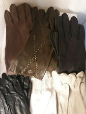 Vtg Leather Gloves Ladies Womens Assecories Black Brown White Ivory 8 Pair