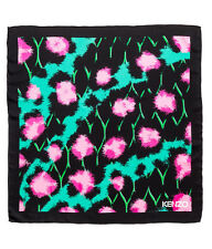 NWT Kenzo X H&M  Black Turquoise Silk scarf with a leopard print.