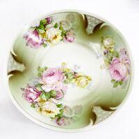 "Vintage Austria 9 1/4"" Porcelain Serving Bowl Pink Yellow Roses Gold Trim"