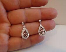 FILIGREE DANGLING STUD EARRINGS W 75 CT LAB DIAMONDS/ 925 STERLING SILVER