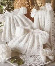 """Baby Layette Jacket Dress Shawl Bootees Bonnet Knitting Pattern 3ply 12-18""""1020"""