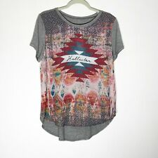 Hollister Shirt Womens Juniors Medium Aztec Gray Short Sleeve New with tags