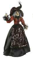 RAZ Imports Halloween Witch w/ Posable Arms Orange Top Sequined Hat - 25.5 inch