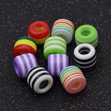 10 Pcs Striped Rainbow Hair Braid Dread Dreadlock Beads Hair Accessories Jewelry