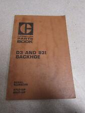 Caterpillar Cat D3 931 Backhoe Parts Catalog Manual 87U1 88U1 1973