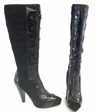 Medea Size 39 US8 UK6 Black Patent Suede Knee Platform Heels Sexy Booties Boots