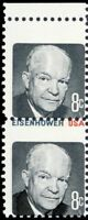 1394d, 8¢ IKE With Blue & Red Colors Missing In Pair Error Mint NH - Stuart Katz