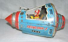 """VINTAGE LITHO TIN FRICTION SPACE CAPSULE TOY """"FRIENDSHIP 7""""-ASTRONAUT IN CAPSULE"""