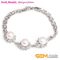 """9-10mm Freshwater Pearl Gold Plated Bracelet Fashion Jewelry 7"""" with Box"""