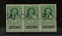 India 1923 3A Agreement Rev Specimen Strip of 3 MLH / 2NH / Toned Gum - S1906