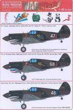 Kits World Decals 1/48 CURTISS P-40 WARHAWK SHARKMOUTH AVG & British