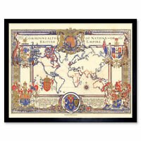 Map Webb 1937 British Empire Commonwealth Pictorial Wall Art Print Framed 12x16