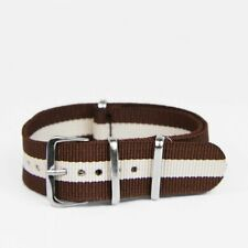 Strap - 18mm/Nylon Brown/White Stripe Military-Style Watch