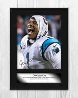 Cam Newton NFL A4 signed mounted photograph picture poster with choice of frame
