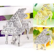 #P486F Music Piano Twinkle Clear Crystal Pin Brooch NEW