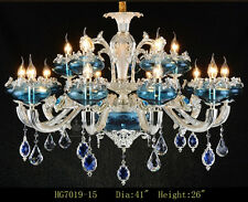 15 Arm Blue Zinc Alloy Crystal Chandelier Ceiling Pendant Fixtures Crystal Light