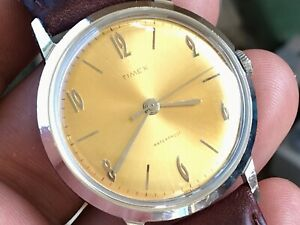 Vintage 1966 Timex Marlin Series Mechanic Men's Watch Serviced New Leather Strap