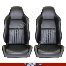 Classic High Back Pair 2 x Black Leather Car Bucket Seats - Camaro NEW