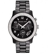 2018 New Michael Kors Runway Black Ceramic Glitz Chronograph MK5190 Lady's Watch