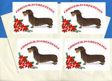 DACHSHUND WIREHAIRED PACK OF 4 CARDS DOG PRINT GREETING CHRISTMAS CARDS