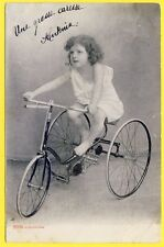 cpa FANTAISIE Fillette en Nuisette TRICYCLE Little Girl BABYDOLL Vélo à 3 Roues