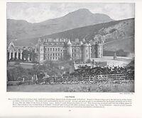 1897 Victoriano Estampado ~ Holyrood Palacio Escocia ARTHUR'S Asiento + Texto