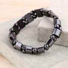 UNISEX WONDERFUL MAGNETIC  Black NATURAL Hematite  Stretch bracelet