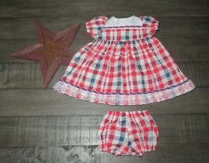 "Handmade Doll Clothes for 20"" - 22"" Baby Dolls - ""USA Proud"" Red Blue Dress Set"