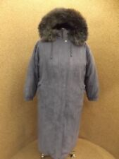 Cozy Warm NEW Slate Blue Faux Suede Real Fox Fur Down Filled Long Parka Coat L