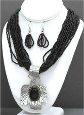 BLACK MULTI LAYER SEED BEAD NECKLACE SET SILVER THUNDERBIRD STONE PENDANT INLAY