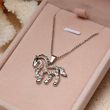 Fashion Silver Plated Rhinestone Running Horse Charm Pendant Chain Necklace