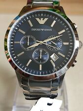 Emporio Armani AR2448 Stainless Steel Chronograph Blue Dial Mens Watch