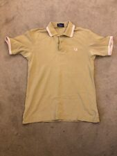 Mens Fred Perry Short Sleeve Polo Shirt Sandy Green Pink White Small