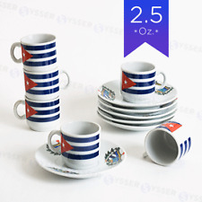 Espresso Coffee Set 12 Pieces 6 Cup and Saucer with Cuban Shield and Flag in box
