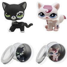 2pcs #1679 #2249 Littlest Pet Shop black Cream Cat Kitty Blue Eyes LPS Toy