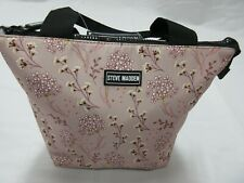 Steve Madden Light Pink With Flowers Black Zipper & Handle Insulated Lunch Tote