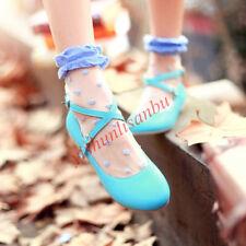 Lolita Women's Round Toe Cross Strap Buckle Flat Ballet Shoes Dancing Pumps New