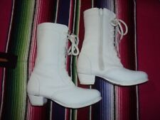 Girl's Adelita Leather Boots/Zipper, Folklorico White Boots,Size 10 1/2