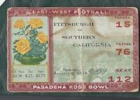 1933 Rose Bowl football ticket stub Pittsburgh Pitt Panthers USC Trojans wear