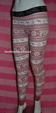 Victoria's Secret PINK Logo Thermal Sleep Leggings Pants Begonia Fairisle Dog XS