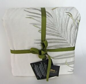 NEW MICHAEL ARAM Palm Full/Queen Embroidered Duvet Cover Ivory Silver Leaves